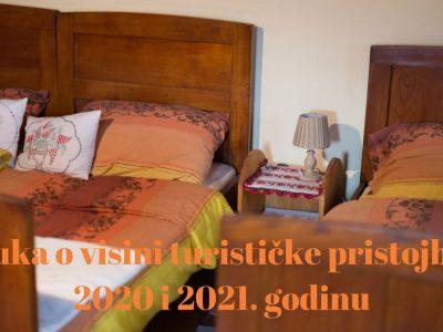 Odluka o visini turističke pristojbe za 2020 i 2021. godinu