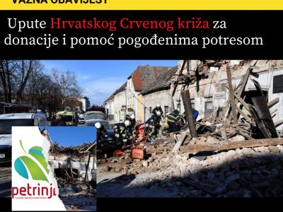 Upute Hrvatskog Crvenog križa za donacije i pomoć pogođenima potresom
